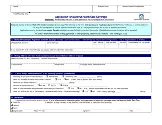 """Application for Nunavut Health Care Coverage"" - Nunavut, Canada"