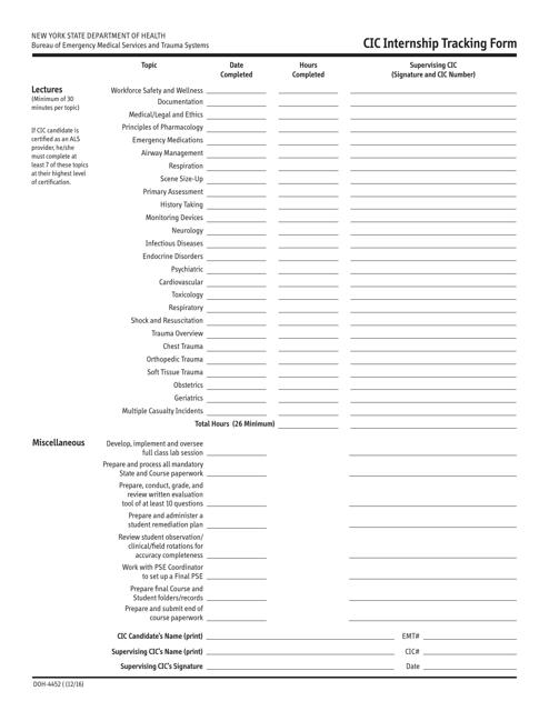 Form DOH-4452  Printable Pdf