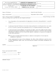 "Form WC-366.1 ""Affidavit of Dependent or Dependent(S) Representative in Support of Settlement Under N.j.s.a. 34:15-20"" - New Jersey"