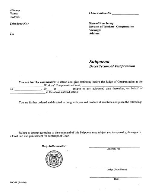 Form WC-18  Printable Pdf