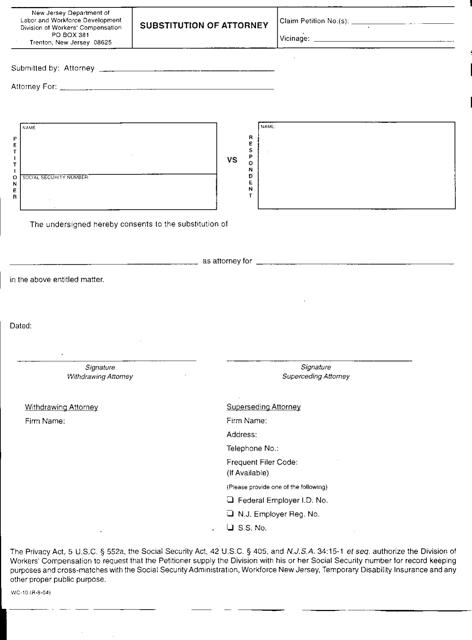 Form WC-10  Printable Pdf