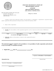 """SOS Form 0056 """"Change or Designation of Registered Agent and/Or Registered Office (Oklahoma Corporation)"""" - Oklahoma"""