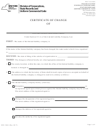 """Form DOS-1359-F """"Certificate of Change"""" - New York"""