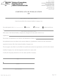 """Form DOS-1708-F """"Certificate of Publication"""" - New York"""