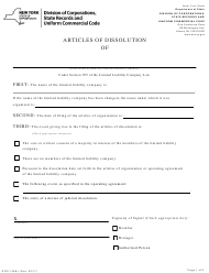"""Form DOS-1366-F """"Articles of Dissolution"""" - New York"""