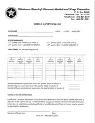 "Form 207 ""Weekly Supervising Log"" - Oklahoma"