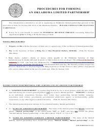 """SOS Form 0028 """"Certificate of Limited Partnership (Oklahoma Limited Partnership)"""" - Oklahoma"""