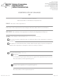 """Form DOS-1556-F """"Certificate of Change"""" - New York"""
