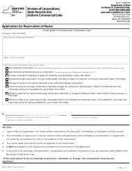 """Form DOS-0234-F """"Application for Reservation of Name"""" - New York"""