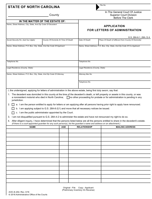 Form Aoc E 202 Download Fillable Pdf Or Fill Online Application For Letters Of Administration North Carolina Templateroller