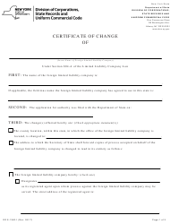 """Form DOS-1362-F """"Certificate of Change"""" - New York"""