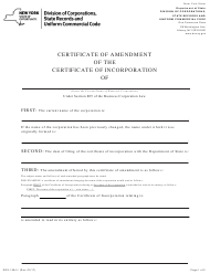 """Form DOS-1554-F """"Certificate of Amendment of the Certificate of Incorporation"""" - New York"""