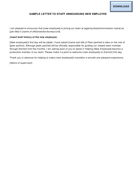 """Sample """"Letter to Staff Announcing New Employee"""" - Ohio Download Pdf"""
