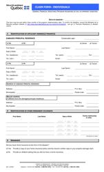 """""""Claim Form - Individuals"""" - Quebec, Canada"""
