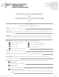 """Form DOS-1626-F """"Certificate of Amendment of Certificate of Assumed Name"""" - New York"""