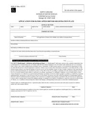 "Form MVR-37 ""' application for Handicapped Drivers Registration Plate"" - North Carolina"