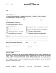"Form 78-008 ""Affidavit of Correction"" - Mississippi"