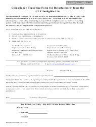 """Form CN:11959 """"Compliance Reporting Form for Reinstatement From the Cle Ineligible List"""" - New Jersey"""