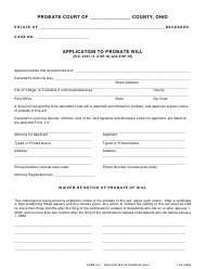 "Form 2.0 ""Application to Probate Will"" - Ohio"