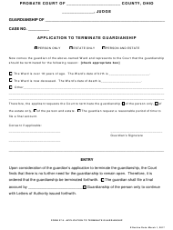 "Form 27.9 ""Application to Terminate Guardianship"" - Ohio"