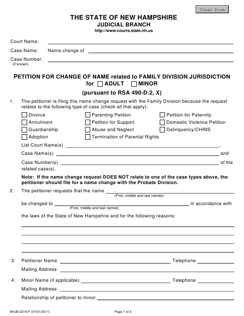 Form NHJB-2319-F  Printable Pdf