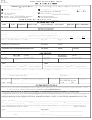 "Form MVR-1 ""Title Application"" - North Carolina"