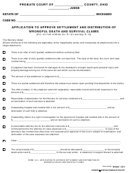 "Form 14.0 ""Application to Approve Settlement and Distribution of Wrongful Death and Survival Claims"" - Ohio"