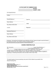 "Uniform Domestic Relations Form 17 ""Shared Parenting Plan"" - Ohio"