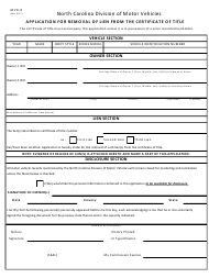"""Form MVR-8 """"' owner Application for Removal of Lien From the Certificate of Title"""" - North Carolina"""
