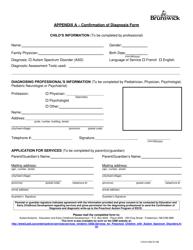 """Appendix A """"Confirmation of Diagnosis Form"""" - New Brunswick, Canada"""