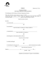 """Form 2 """"Change Notice - Fixtures, Growing Crops or Rents"""" - Northwest Territories, Canada"""