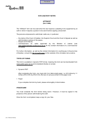 "Form SJ-1139A ""Affidavit"" - Quebec, Canada"