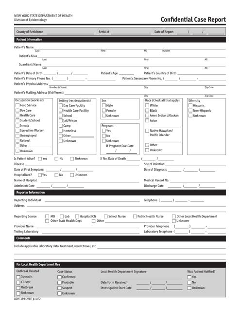 Form DOH-389  Printable Pdf