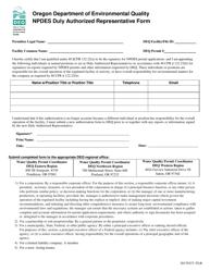 """Npdes Duly Authorized Representative Form"" - Oregon"
