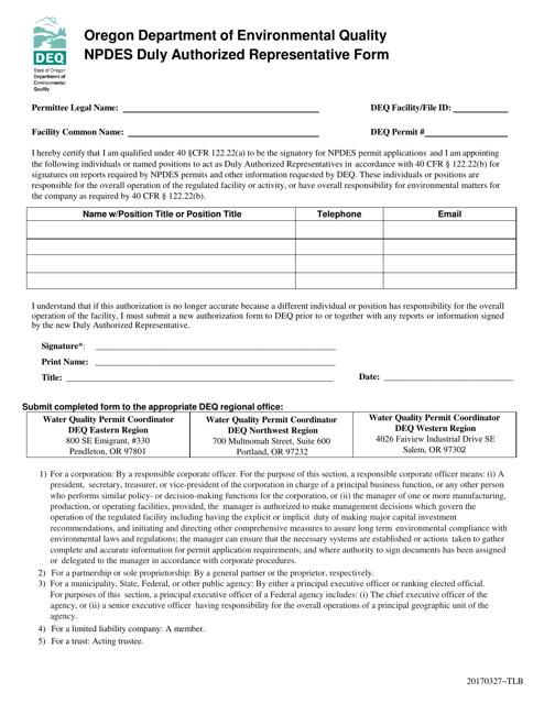 """Npdes Duly Authorized Representative Form"" - Oregon Download Pdf"