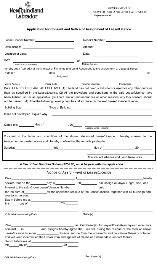 """""""Application for Consent and Notice of Assignment of Lease/Licence"""" - Newfoundland and Labrador, Canada Download Pdf"""