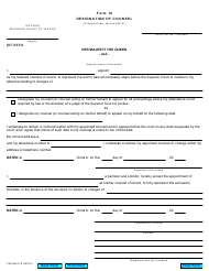 "Form 18 ""Designation of Counsel"" - Ontario, Canada"