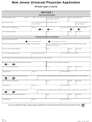 "Form MC-5 ""New Jersey Universal Physician Application"" - New Jersey"