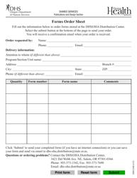 """Form DHS8100 """"Forms Order Sheet"""" - Oregon"""