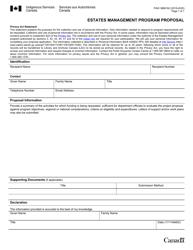 "Form PAW3869162 ""Estates Management Program Proposal"" - Canada, 2020"