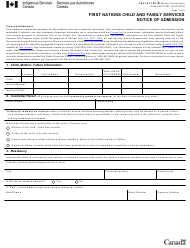 """Form PAW493710.BC """"First Nations Child and Family Services Notice of Admission"""" - Canada, 2020"""