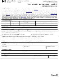 """Form PAW493738.BC """"First Nations Child and Family Services Notice of Discharge"""" - Canada, 2020"""