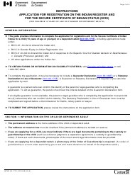 """Instructions for Form INTER83-171E """"Application for Registration on the Indian Register and for the Secure Certificate of Indian Status (Scis) (For Children 15 Years of Age or Younger or Dependent Adults)"""" - Canada"""
