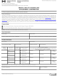 """Form INTER40-004E """"Mental Health Counselling Appointment Confirmation"""" - Canada"""