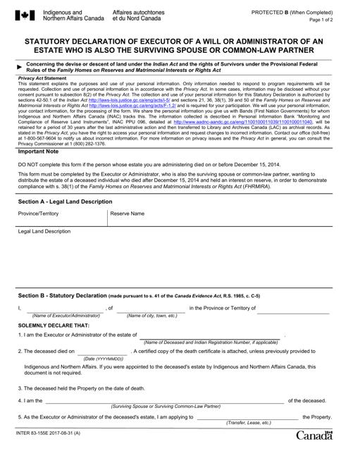 Form INTER83-155E Printable Pdf