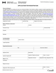 """Form INTER83-154E """"Application for Registration"""" - Canada"""