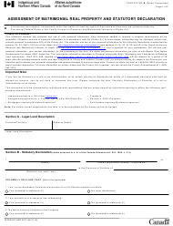 """Form INTER83-166E """"Assessment of Matrimonial Real Property and Statutory Declaration"""" - Canada"""
