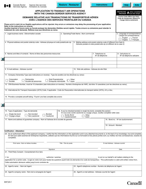 Form BSF329-1 Printable Pdf