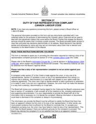 "Section 37 ""Duty of Fair Representation Complaint"" - Canada"