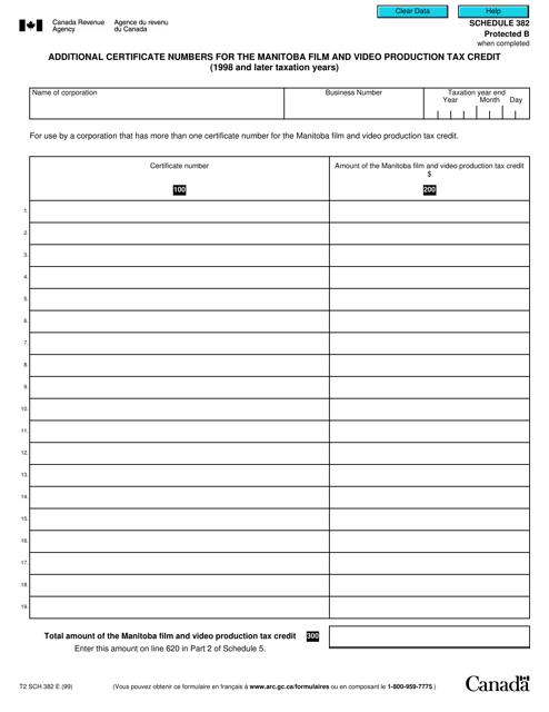 Form T2 Schedule 382 Printable Pdf